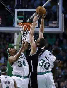 Brook Lopez dunks hard on two Celtics