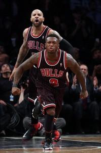 Nate Robinson of Bulls afte rhitting go ahead shot vs Nets