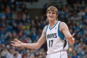 Andrie Kirilenko with hands up as Timberwolve