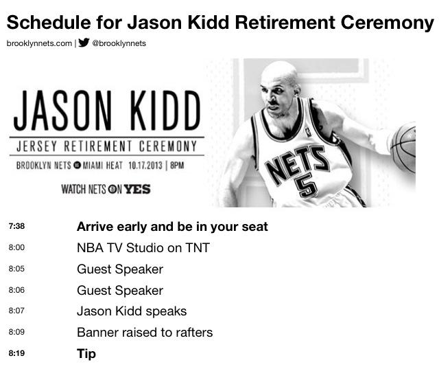 Jason Kidd Retirement Ceremony schedule pic