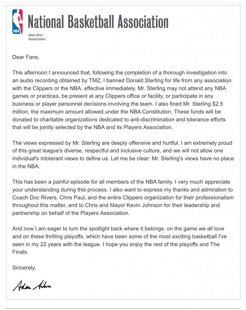 Adam Silver letter to fans about banning Donald Silver