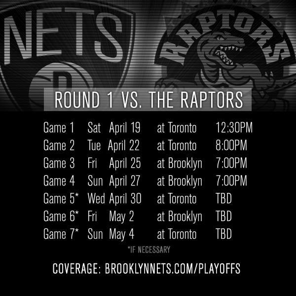 Nets - Raptors schedule pic