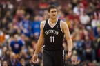 Brook Lopez in black uniform looking angry