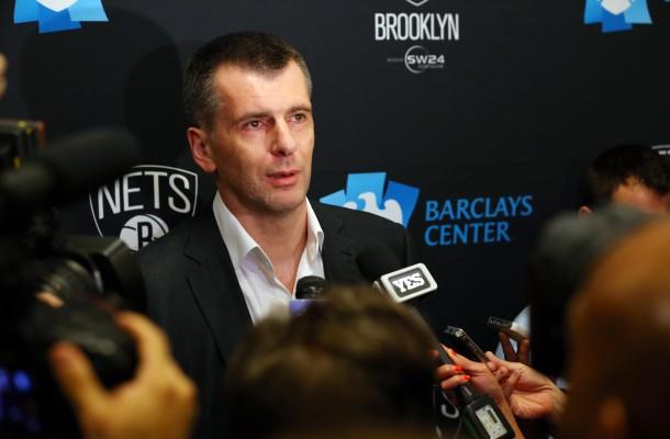 Mikhail Prokhorov takes questions prior to Nets 2014 home opener vs Thunder